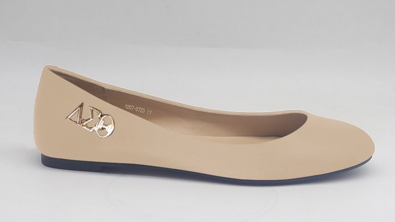 Light Beige Genuine Leather Flats with Gold ΔΣΘ buckle