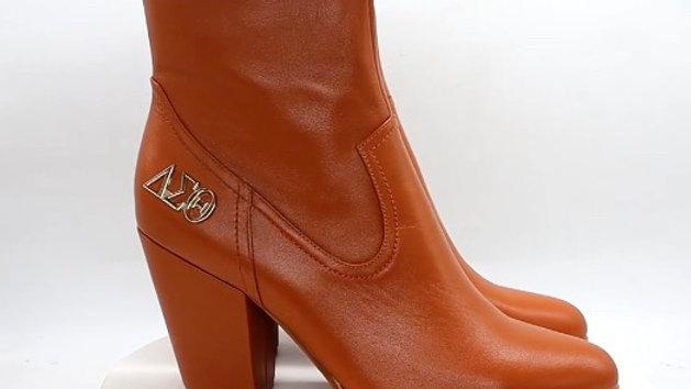 ΔΣΘ Brown Genuine Leather Boots with gold buckle