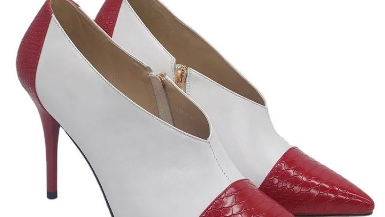 White Genuine Leather and Red Faux Snake Skin Heels