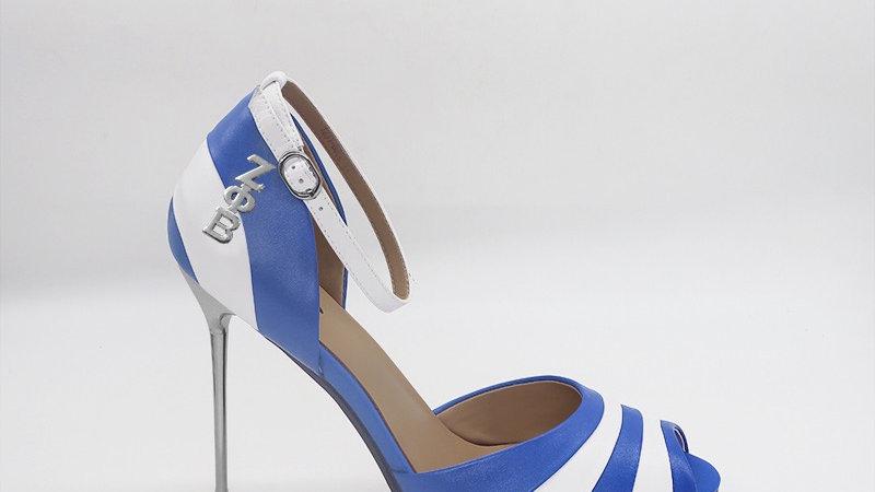 ΖΦΒ Blue/White Genuine Leather 5in heels with silver buckle