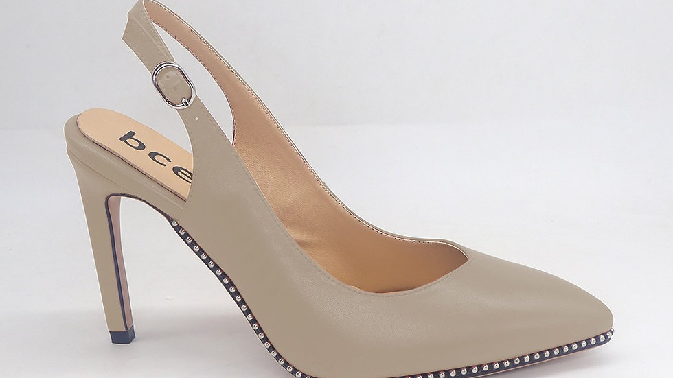 Beige Slingback Genuine Leather Heels with gold buckle