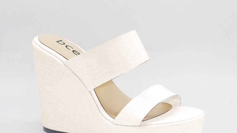 White  Genuine Leather 5in Wedges