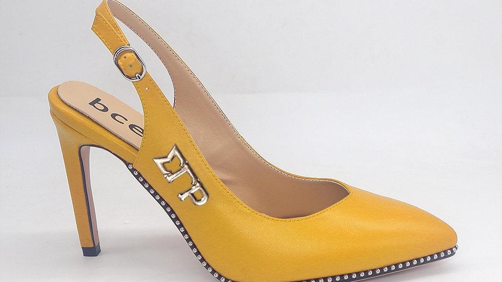 ΣΓΡ  Yellow Slingback Genuine Leather Heels with gold buckle