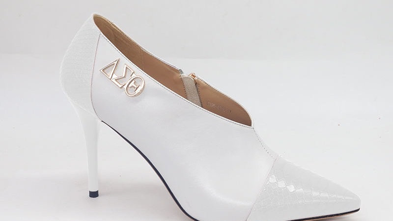 White Genuine Leather and Faux Snake Skin Heels