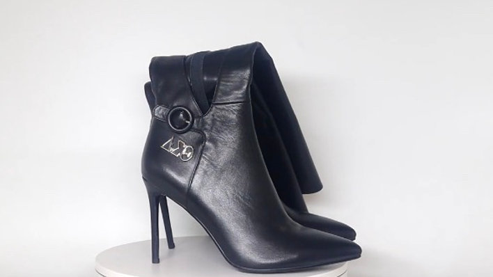 ΔΣΘ Black Genuine  Leather 4in Boots