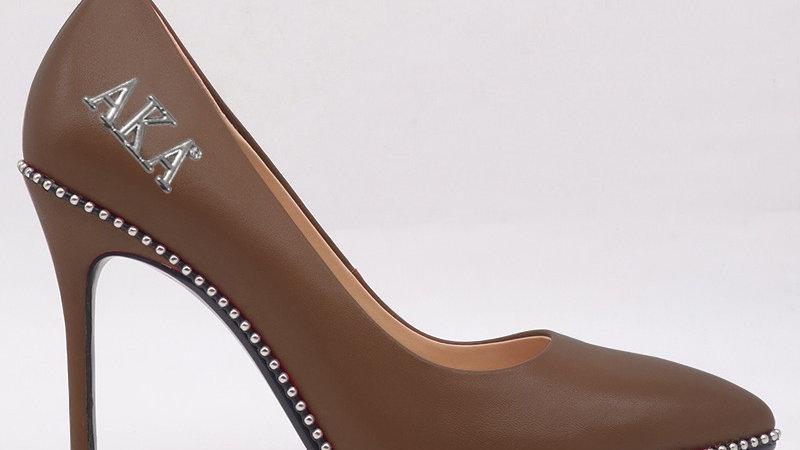 AKA Mocha Genuine Leather heels