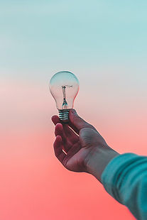 Light bulb with a scenic background