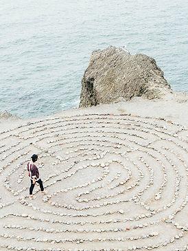Woman travelling through a maze