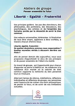 Ateliers Liberté-Egalité-Fraternité - méditation philo pour vivre de plus justes relations