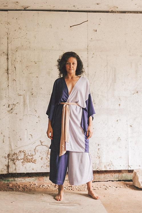 Kimono bicolor- Marinho e lilás