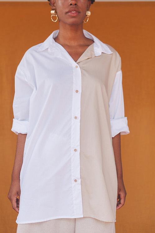 Camisa oversized bicolor
