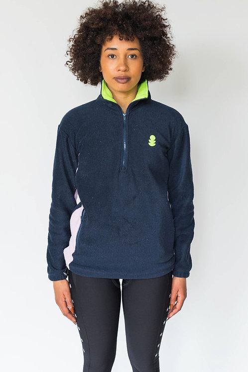 Dark Blue Half Zip Fleece, Neon Collar with Pink Panel