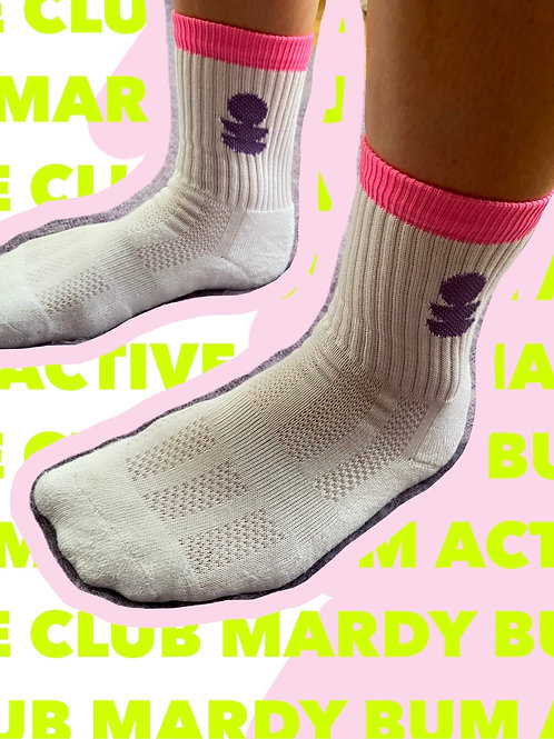 White lilac and neon pink sports sock