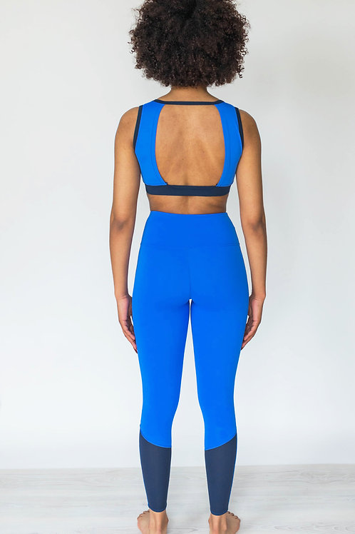 Blue Backless Light Support Sports Top perfect for Yoga or Pilates