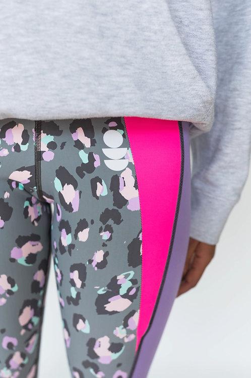 Leopard neon pink flash leggings