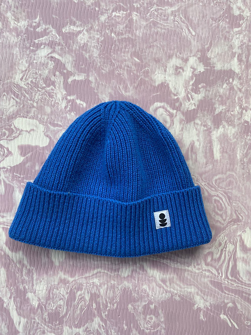 Blue Beanie made from 100% Recycled Yarn