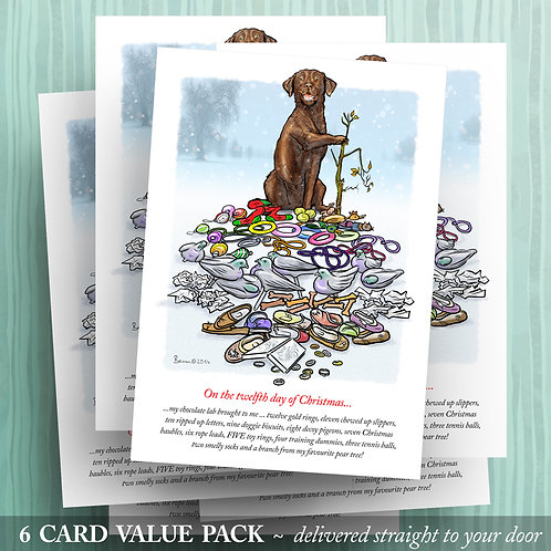 12 days of Christmas - Chocolate Lab - 6 pack
