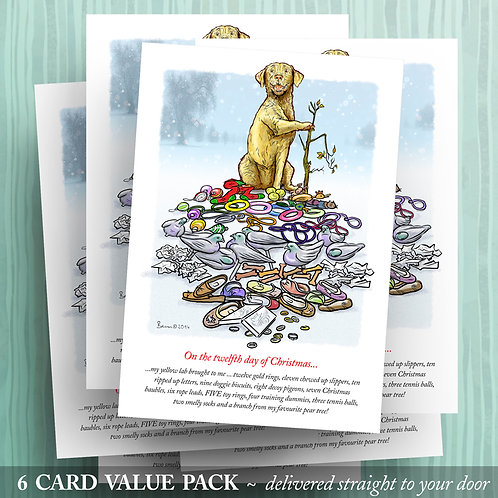 12 Days of Christmas – Yellow Lab - 6 pack