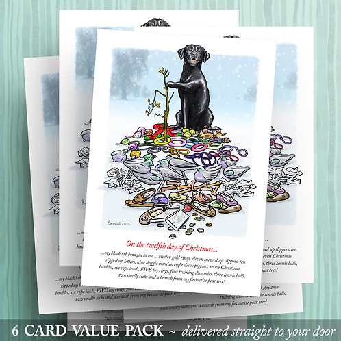 12 Days of Christmas – Black Lab - 6 pack