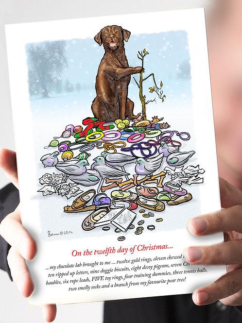 Ref 79 – '12 days of Christmas' - Chocolate Lab