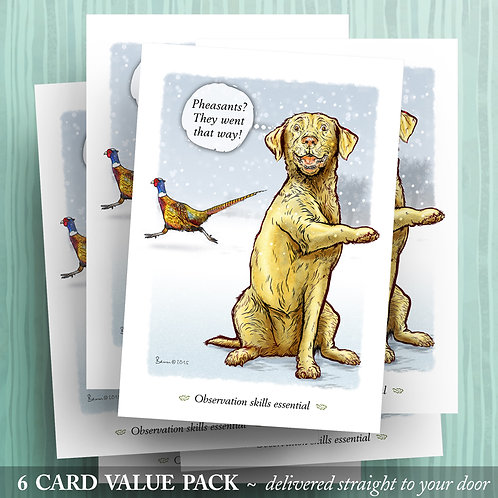 'Pheasants that way!' - Yellow Lab - 6 pack