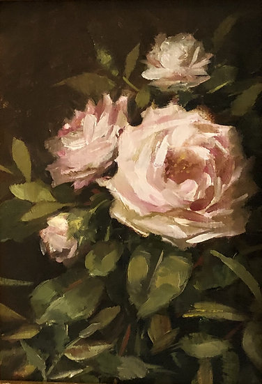 "Evening Roses, 5""x7"" original oil painting on linen Unframed"
