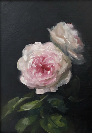 """Galway Roses in Winter, 5""""x7"""" original oil painting on linen Unframed"""