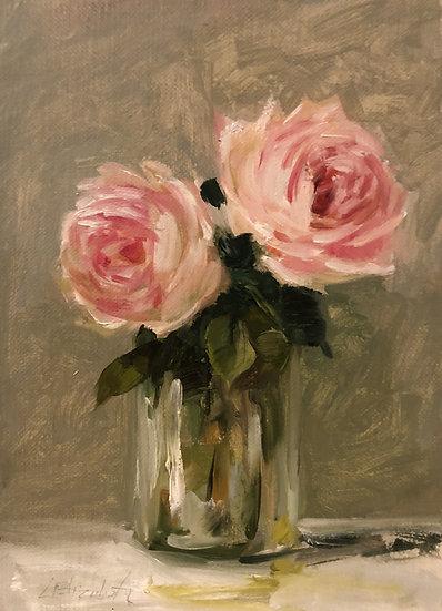 "Sketch of Roses in Glass Jar, 5""x7"" original oil painting on linen Unfra"