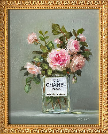"""Maid Marion in Chanel No5, Original Oil Painting on  8""""x10"""" Framed"""