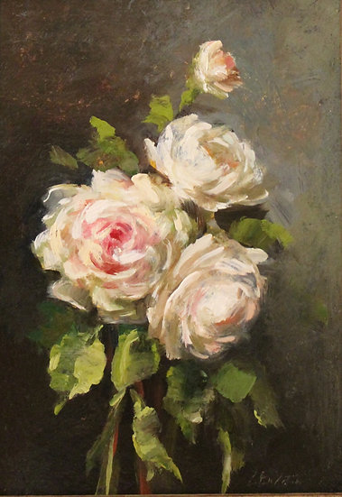 """Tranquility Roses, 5""""x7"""" original oil painting on linen Unframed"""