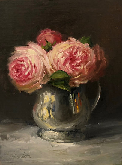 "Garden Roses in Antique Silver, 6""x8"" original oil painting on linen Unframed"