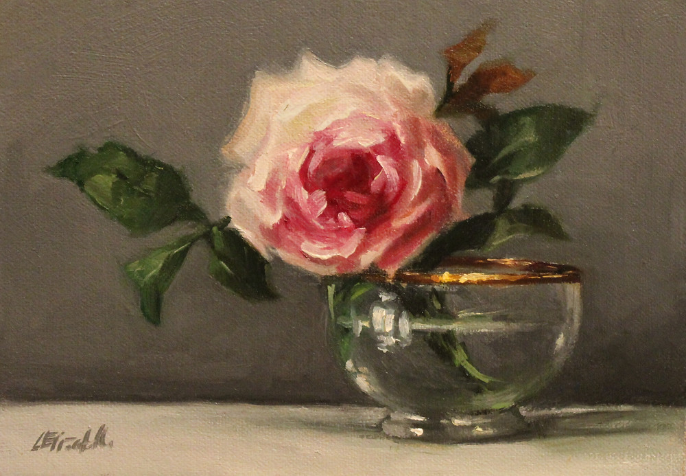 "Rose in Glass and Gold Bowl Oil on Linen Panel 5"" x 7"" Click to purchase."