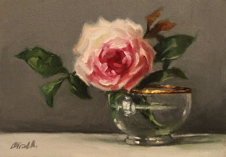 Rose in glass and gold bowl.JPG