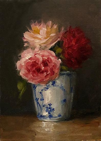 "Roses in Royal Copenhagen Cup, 5""x7"" original oil painting on linen Unframed"