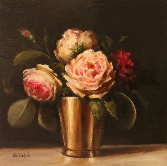 """Roses and Eucalyptus in Gold Cup 8""""x8"""" original oil painting on linen"""
