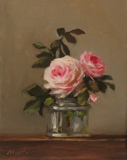 "Roses in Glass Ink Bottle 8""x10"" original oil painting on wrapped linen UNFRAMED"