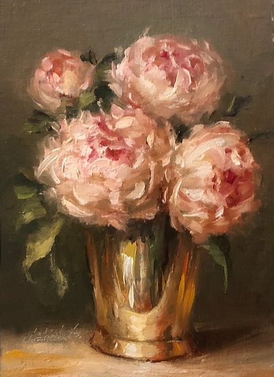 "Peonies in Brass, 5""x7"" original oil painting on linen Unframed"