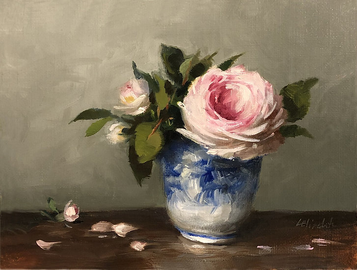 """Roses in Blue and White Cup, 6""""x8"""" original oil painting on linen Unframed"""