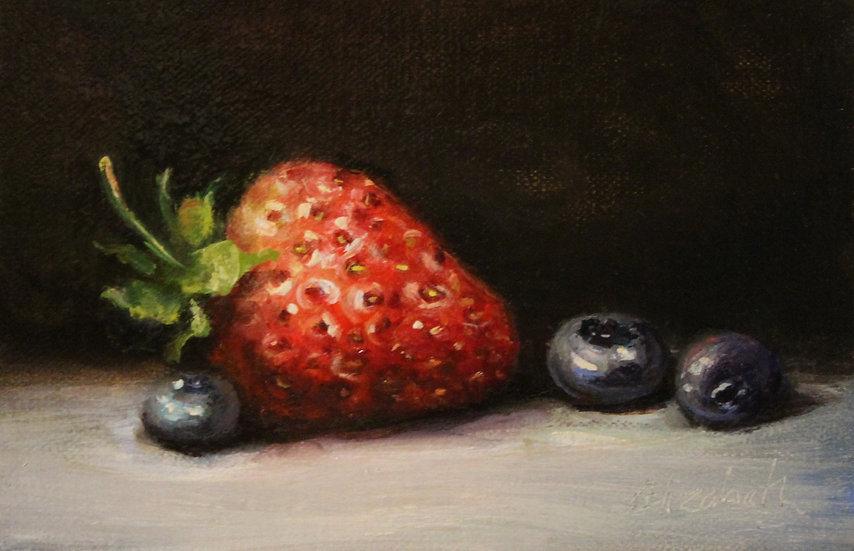 "Still life of Berries, 4""x6"" original oil painting on linen"