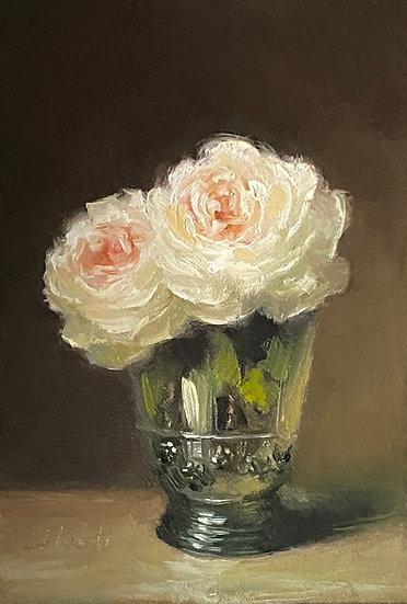 "The Shepherdess in Dutch Glass, 5""x7"" original oil painting on linen Unframed"