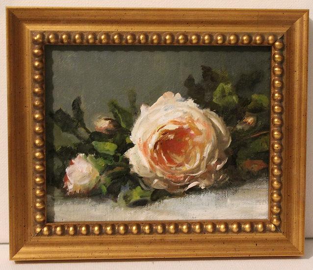 """Morning Rose Still Life, 4""""x5"""" original oil painting on linen FRAMED"""