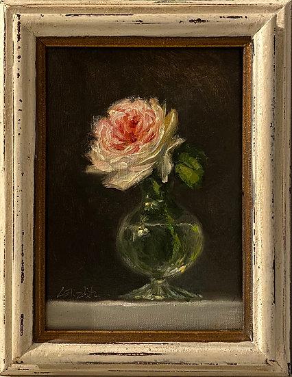 "Juliet Rose in a Scalloped Glass Vase, 5x7"" oil on linen painting Framed"