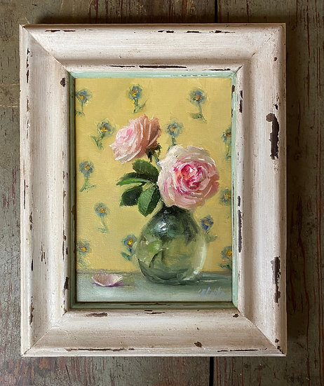 """Roses and Forget-me-nots 5""""x7"""""""" oil on linen painting Framed"""