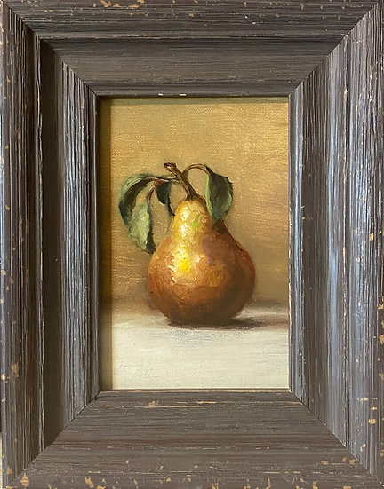 "Golden Pear Still Life 4""x6"""" oil on linen painting Framed"