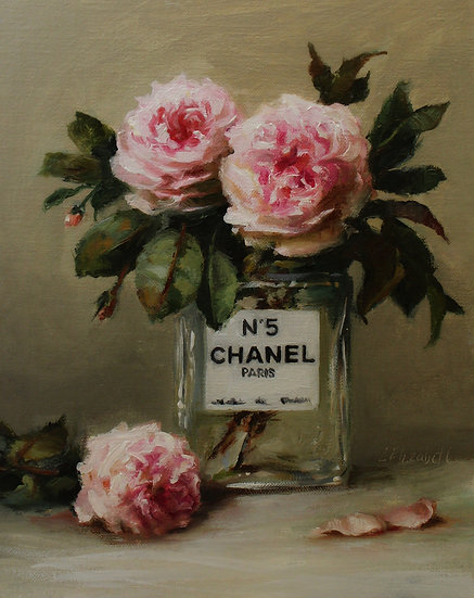 "Chanel No5 with Garden Roses, Original Oil Painting on  8""x10"" Linen Panel"