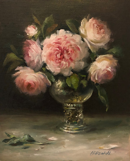 """Wedgwood Roses in Glass Roemer Original Oil Painting on  8""""x10"""" Linen Panel Unfr"""
