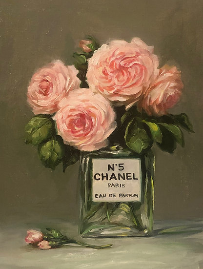 """Latour Roses with Chanel No 5, Original Oil Painting on  9""""x12"""" Linen Panel"""