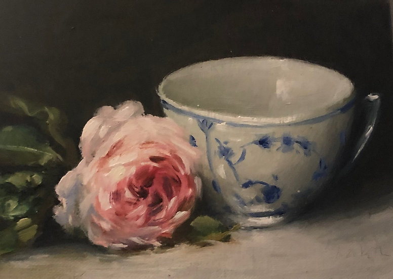 "Rose with Royal Copenhagen Cup, 5""x7"" original oil painting on linen"