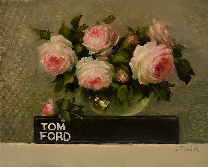 "Tom Ford Book with Eden Roses, Original Oil Painting on  8""x10"" Unframed"