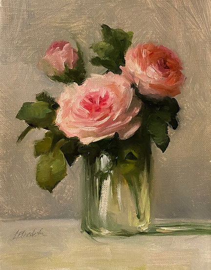 "Roses in Mason Jar Sketch, 6""x8""original oil painting on linen Unfr"